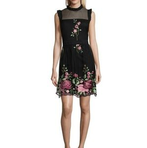 Luxology Embroidered Fit & Flare Black Dress